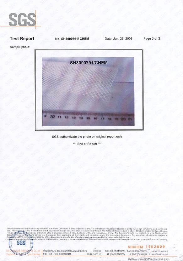 SGS material testing report3